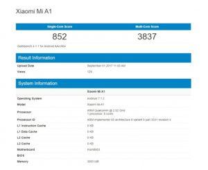 Geekbench Testinde Ortaya Çıkan Xiaomi Mi A1'in Özellikleri de Ortaya Çıkmış Oldu