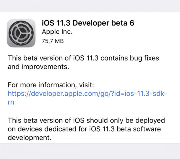iOS 11.3 beta 6, Geliştiriciler İçin Yayınlandı